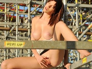 Perfect round tits model strips and explores pussy