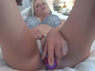 Horny housewife Jolene fucks her tight twat and sw