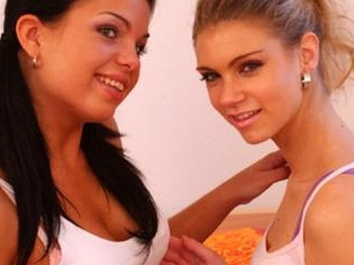 Hot lesbians tease with tongues