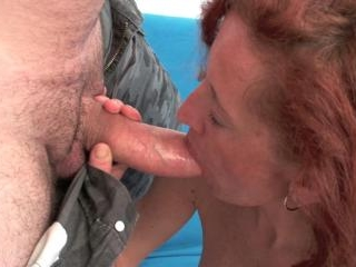 Thin redhead mom gets throat ruined with cock