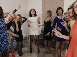 Nine horny women have a sex party and share one lu