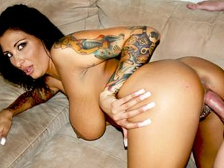 Wild bitch spreads pierced pussy lips for big cock