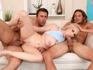 Busty Blonde Slut Skylar Vox Tagged Teamed by 2 Es