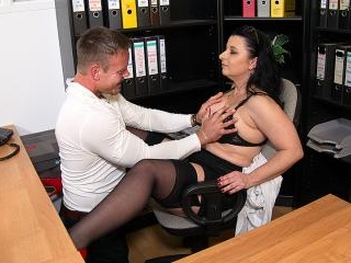 This German cougar gets fucked at the office until